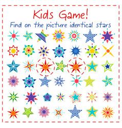 Kids game with colorful cartoon stars vector