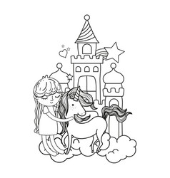 line girl with unicorn in the castle with clouds vector image
