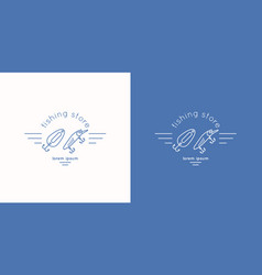 Linear minimalistic logo for store fishing vector