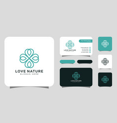 love nature flower logo design line style with vector image
