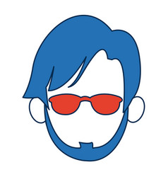 Man faceless wearing glasses blue hair in white vector