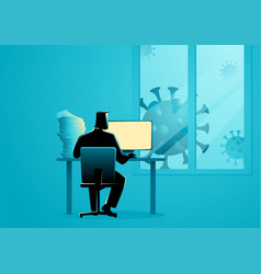 Man working from home during coronavirus vector