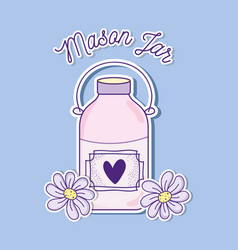 Mason jar with flowers vector
