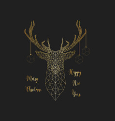 Merry christmas and happy new yea card with golden vector