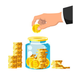 money box businessman hand putting golden coin vector image