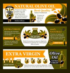 Natural olive oil product banner set food design vector