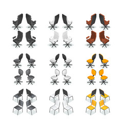 Office chair icon set vector