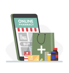 online pharmacy banner with smartphone paper bag vector image