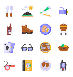 Pack of food and tools flat icons vector