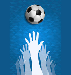 people hands together for soccer sport event vector image