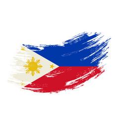 Philippines flag grunge brush background vector
