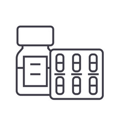 pills and tablets and bottle line icon vector image
