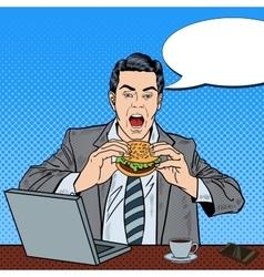Pop art business man eating tasty burger at work vector