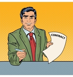Pop Art Businessman Signing Contract vector