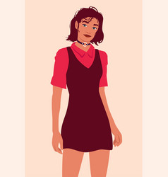 Portrait a young woman in a dress with a choker vector