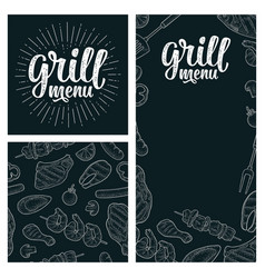 posters and seamless pattern bbq grill menu vector image