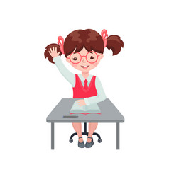 Pupil girl raising hand for an answer at desk vector