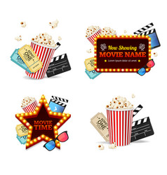 Realistic detailed 3d cinema set vector