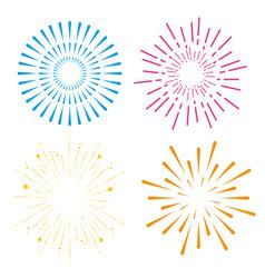 Set fireworks to happy celebration event vector