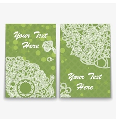 Set green card with intricate ornament vector