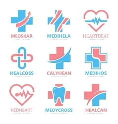 Set of medical cross logo Pharmacy logo design vector image