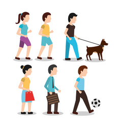 set people various activities different man walk vector image