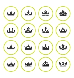 Set round icons of crown vector