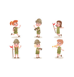 Set with six boys and girls scouts in different vector