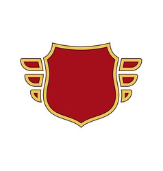 Shield red icon gold outline golden vector