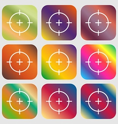 Sight icon sign Nine buttons with bright gradients vector