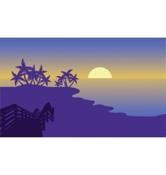 Silhouette of beach with moon vector