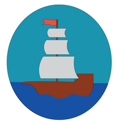 simple cartoon a sailing ship on blue water in vector image