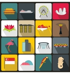 Singapore icons set flat style vector
