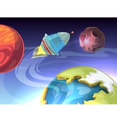 Space cartoon comic background with vector