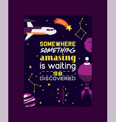 spaceships in cosmos with planets poster vector image