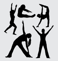 sport exercise female action silhouette vector image