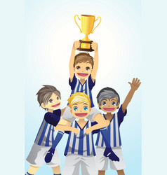 Sport kids lifting trophy vector