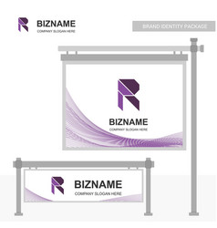 stylish company r logo with slogan on sign board vector image