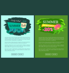 summer sale with 35 and 30 percent off promotional vector image