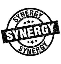 Synergy round grunge black stamp vector