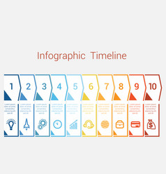 Timeline infographic for ten position vector