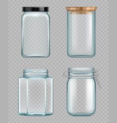 transparent jar empty glass bottles liquid food vector image
