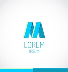Trendy flat colors M letter logo template vector