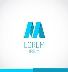 Trendy flat colors M letter logo template vector image