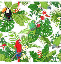 Tropical birds and flowers pattern vector
