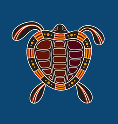Turtle aboriginal art style vector