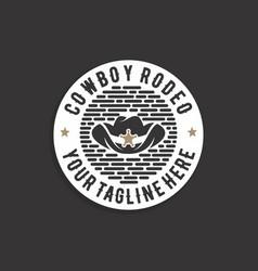 western cowboy emblem or stamp logo design vector image