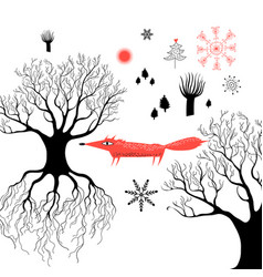 winter graphics with a red fox vector image