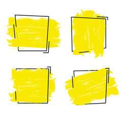 Yellow paint ink brush stroke vector