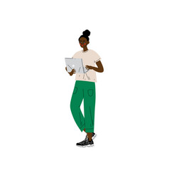 young african american woman standing with laptop vector image